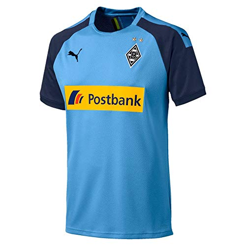 Puma Herren BMG Away Shirt Replica with Sponsor Trikot, Team Light Blue/Peacoat, M