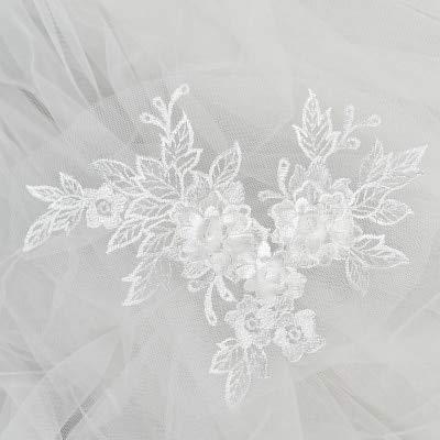 Shoppy Star Multicolor Perlen Spitze Stickerei Big Flower Patch Kinder Hochzeit Kleid Kostüm DIY Deko Blume Aufkleber HB76 Weiß