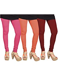 CAY 100% Cotton Combo of Maroon, Orange and Baby Pink Color Plain, Stylish & Most Comfortable Leggings For Girls & Women with Full Length (SIZE : Free Size)