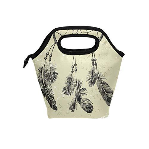 Ahomy lonchera bolsa atrapasueños pluma reutilizable portátil e impermeable bolsa de almuerzo para hombres mujeres adultos