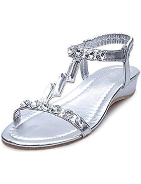 Verano pendiente sandalias de diamante con sandalias abiertas de deslizamiento salvaje , silver , US7.5 / EU38...