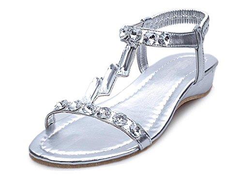 sandales été pente de diamant avec des sandales à bout ouvert dérapage sauvage Silver