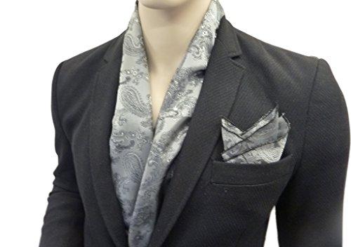 Grigio Argento Sera sciarpa e Matching tascabile quadrato made in francia da pjw