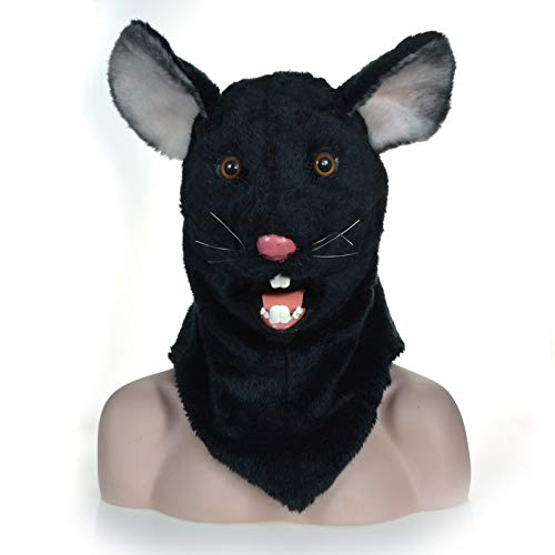 MUJUN Schwarze Maus Kopf Maske, Maskerade Halloween Karneval Geburtstag Party Kostüm realistische handgemachte angepasst Tier Cosplay beweglichen Mund mit Fell verziert (Maus Kopf Kostüm)