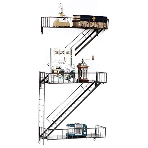 Schweberegale Hängeregale Dekorative Wand Regal Metall Eisen im Retro-Stil Lagerregal Display Bücherregal Wand Magazin CD Rack - schwarz 2 Tiers -