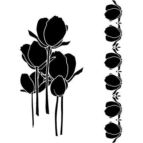 Joggles Mylar Stencil 9-Inch x 12-Inch-Tulips and Border