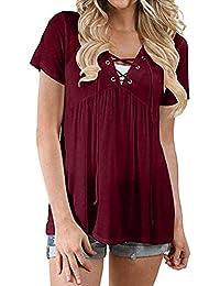 MEIbax Bluse e Camicie Donna Taglie Forti//Pullover Donna Cotone//Camicetta da Donna Lunga//Top Camicetta Casual Bende Solide//Camicia Donne Manica Lunga V-Collo T-Shirt Cotone