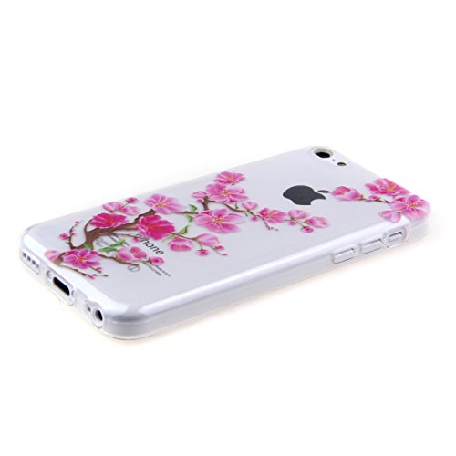 Coque pour iPhone 6 Plus, iPhone 6 Plus Silicone Coque Transparent Etui Housse, iPhone 6s Plus Coque en Silicone Souple Housse, iPhone 6 Plus Soft Case Clear Cover, Ukayfe Etui de Protection Cas en ca Plum Fleur