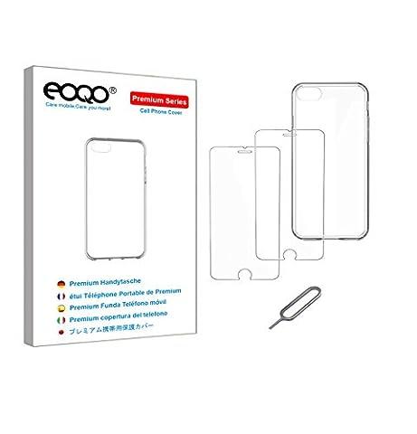 eoqo® iphone 7 TPU Etui Clair En Silicone TPU + iphone 7 Protecteur D'ÉCran En Verre TrempÉ + Broche D'éjection