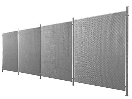 Poly-Rattan Sichtschutz / Zaun-Set 9-teilig anthrazit ca. 760cm Prime Tech