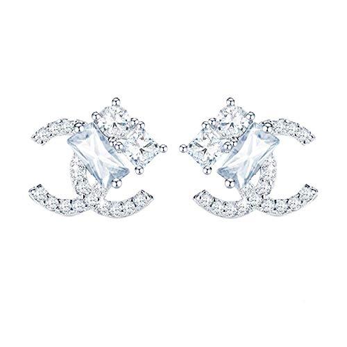 NIMUIL Damen 925 Silber Ohrringe Initiale Alphabet Doppel C Ohrstecker mit 5A Zirkonia, Eleganter Modeschmuck für Frauen