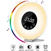 Wake Up Light Despertador con Luz - AUELEK LED Lámpara Luces-despertador, Simulación de Amanecer y Atardece, Función Snooze, 7 Luces LED de Colores, Radio FM, 6 Sonidos Naturales,10 Niveles de Brillo