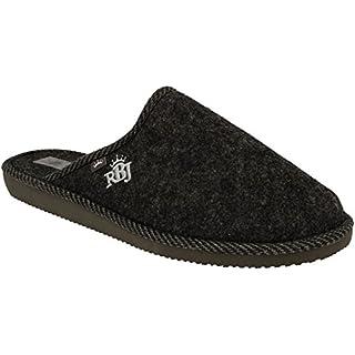 RBJ leather shoes Herren Natur Wollfilz Pantoffeln für Wohlgefühl - warm, atmungsaktiv, natürlich, Handarbeit, Qualität, (46 EU, Schwarz 904A)