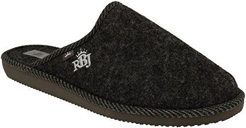 RBJ leather shoes Herren Natur Wollfilz Pantoffeln für Wohlgefühl - warm, atmungsaktiv, natürlich, Handarbeit, Qualität, (45 EU, Schwarz 904A)
