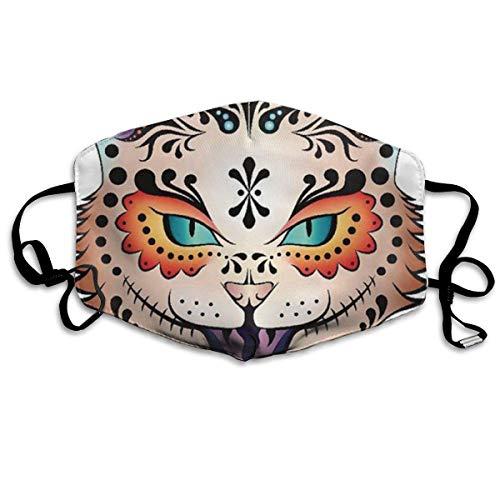 Mundmaske für Damen und Herren, mit Ohrschlaufe, für halbe Gesicht, staubdicht, Mundschutz, Premium-Winddicht, Kaomoji Mundmaske für Kinder, Jugendliche, Jungen und Mädchen (Sugar Skull Kitty)