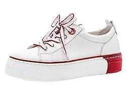 Gabor Damen Skater Sneaker 23.370.25, Frauen Sportschuh,Low-Top,Schnürer,Halbschuh,Plateau-Sohle,Weiss/rot,40 EU / 6.5 UK
