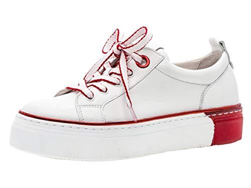 Off-weiß Leder Schuhe (Gabor Damen Skater Sneaker 23.370.25, Frauen Sportschuh,Low-Top,Schnürer,Halbschuh,Plateau-Sohle,Weiss/rot,37 EU / 4 UK)