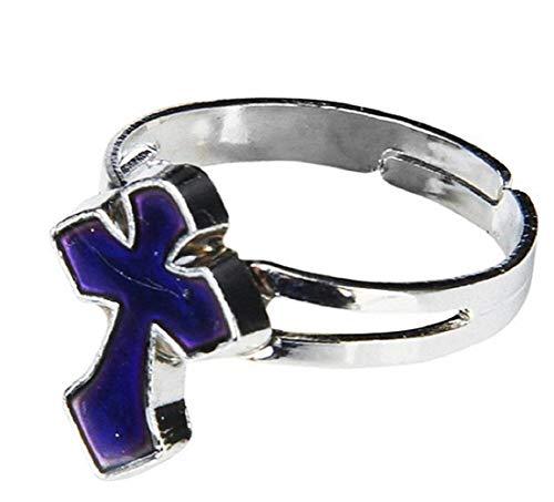 Lovelegis Ring für Frauen Mädchen Damen - Kreuz - verstellbar - Stimmung - Farbe ändern - Ringe Kinder Stimmung