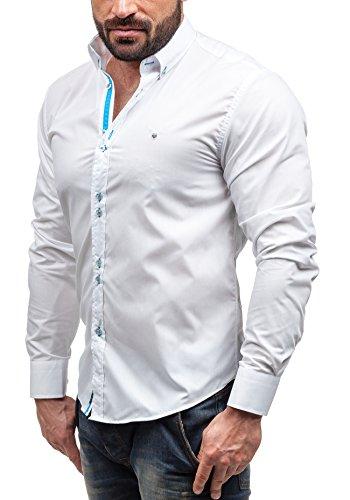 BOLF Herren Langarm Herrenhemd Figurbetont Freizeit Slim Casual 5810 Weiß