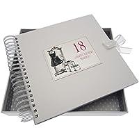 """Tarjetas de algodón blanco """"18 cumpleaños pequeño vestido negro"""" tarjeta y libro de recuerdos"""