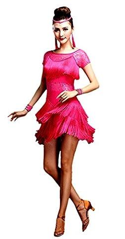 Honeystore 2016 Neuheiten Damen Kurzärmelig Quasten Swing Rhythmus Jazz Latein Dance Kleid Fuchsie (Designer Bauchtanz Kostüme)