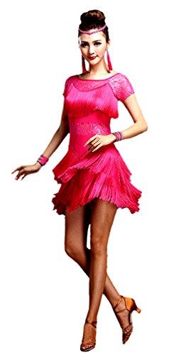 eiten Damen Kurzärmelig Quasten Swing Rhythmus Jazz Latein Dance Kleid Fuchsie M (Bauchtänzerin Kostüm Billig)