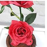 Jamicy LED Dekoration für Weihnachten, künstliche Blumen, romantische Glas Rose Hochzeitsdekoration Heimtextilien DIY Haus Garten Dekor (Rot) - 3