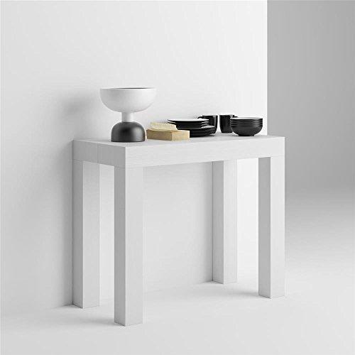 Mobilifiver Mesa consola extensible, modelo First, color blanco ceniza, 90 x 45 x 75 cm
