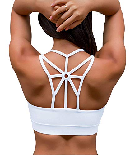 SHAPERX Damen Sport-BH, gepolstert, atmungsaktiv, hohe Stoßfestigkeit, Criss Cross Back Yoga BH - - small