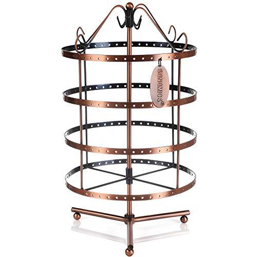 Songmics espositore per giogioielli girevole a 4 ripiani a cerchio porta orecchini braccialetti collane anelli bigiotteria colore di rame jds012