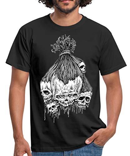 (Spreadshirt Halloween Horror Zeichnung Bündel Schrumpfköpfe Männer T-Shirt, XL, Schwarz)