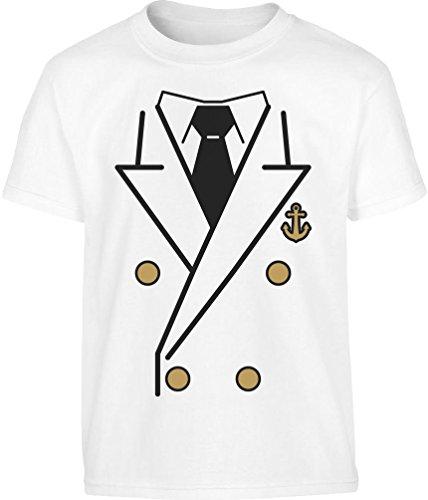 Kostüm Schiffskapitän Kinder - Kids Kapitän Kostüm Shirt + KAPITÄNSMÜTZE Kinder T-Shirt 7-8 Jahre (128cm) Weiß