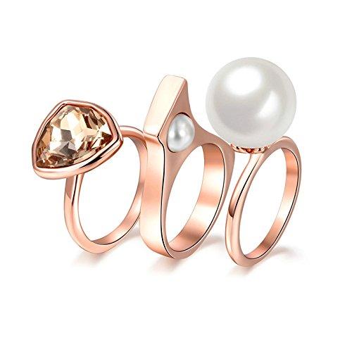 Beydodo Vergoldet Ring Damen Strass Perle Rund Partnerring Rosegold Ring Verlobung Gr.57 (18.1)