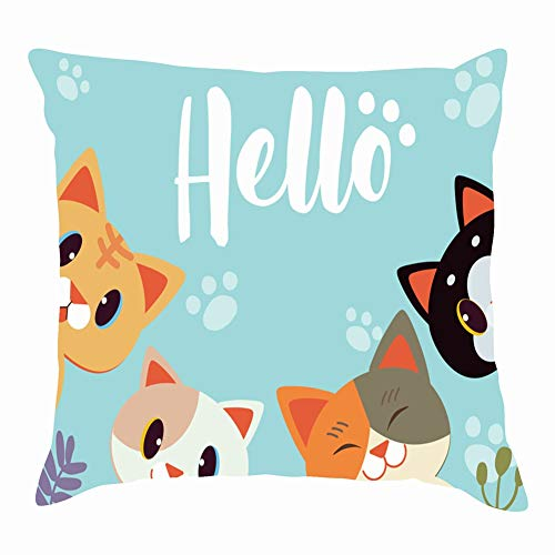 tuyi Character Cartoon cat say Hello Flower Animals Wildlife animalThrow Pillow Covers Cotton Linen Cushion Cover Cases Pillowcases Sofa Home Decor 18