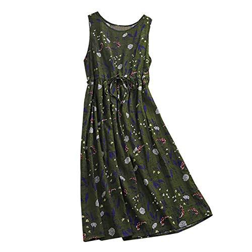 Aesyorg Loses Baumwollkleid für Damen. Vintage-Shift-Kleid mit Print Ärmelloser Weste-Rock - Durch Sehen Maxi-rock