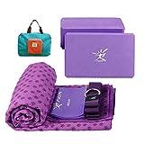 Kit per yoga portatile da viaggio, 2 blocchi, 1 cinghia per yoga, 1 elastico, 1 asciugamano antiscivolo per tappetino e 1pratica borsa, Purple