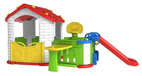 119x269x108 Gartenhaus mit Rutsche, Basketball und Garten mit Tisch Kinderhaus