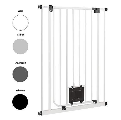 Original IMPAG® Treppen und Tür-Schutzgitter Nala |75 -149 cm | Speziell für Hunde und Katzen | Katzenklappe | Extrahoch 105 cm |
