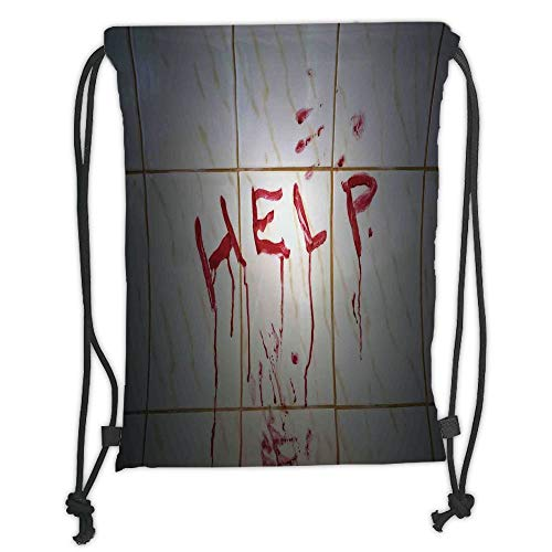 Icndpshorts Horror,Bloody Help Note in Bathroom Themed Illustration Crime Horror Flowing Blood Pattern,Red White Soft Satin,5 Liter Capacity,Adjustable String Closure