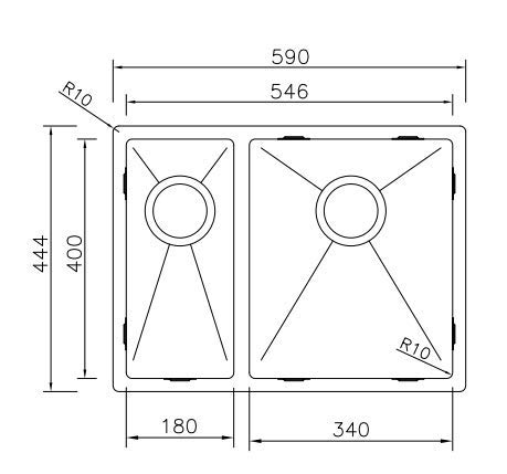 Fregadero de Cocina Mizzo Linea 18-34   Acero Inoxidable 304   Mueble de 60 cm   Montaje Bajo o Sobre Encimera o al Ras   Radio 10mm   1.5 Seno