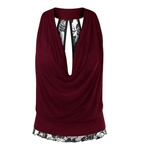 Kviklo Damen Plus Size Westen Tank Lace Hem Backless tiefem V-Ausschnitt Ärmellos Shirt Sexy Party Tops Oversize(2XL(40-42),Burgundy) (Usher Kleid)