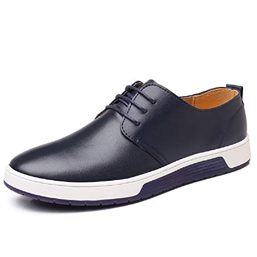 Chaussure de Cuir Homme, Oxford Derby Lacets Dressing Casual Business Mariage Respirant Bleu-1 40