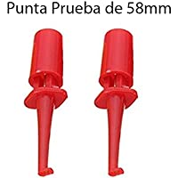 2x Punta Roja de Prueba Redonda con Gancho 58mm. Test Hook Clip
