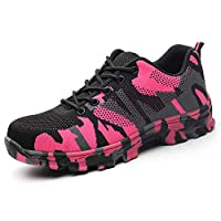 LILY999 Mens Womens Safety Trainers Work Shoes Steel Toe Cap Lightweight Hiker Protective Mid Sole(Pink 1,6 UK)