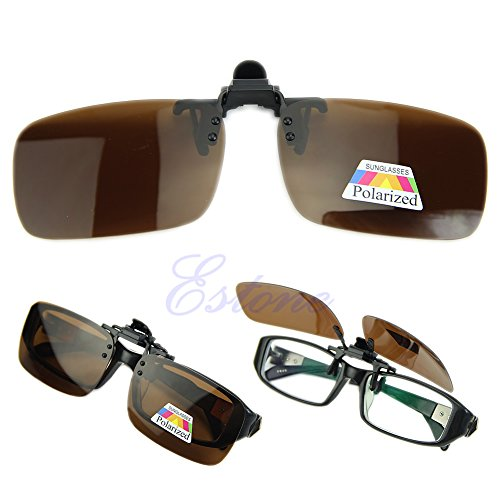 Lamdoo Driving Brille Polarized Day Nachtsicht Clip-on Flip-up Objektiv Sonnenbrille Braun L