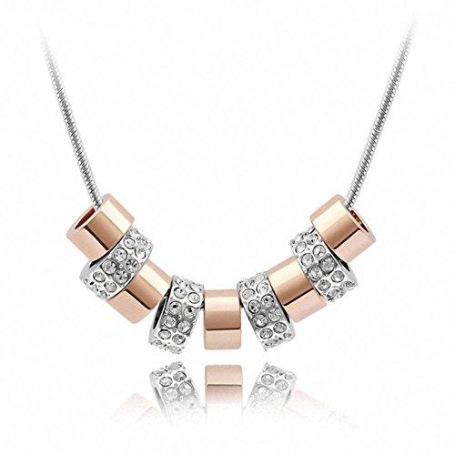 TAOTAOHAS Damen Anhaenger Halskette mit Crystallized Swarovski Elements Kristall Clear 18K 750 Weissgold, Kette von Speicher,QS1489