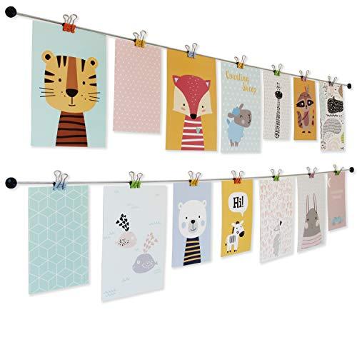 LeTOMA - Fotoseil mit bunten Metall-Klammern - 2x150 cm & 2x15 Klammern im Smiley-Design in den Farben Blau, Gelb, Grün, Orange und Rosa - Fotoleine, Bilderseil ideal fürs Kinderzimmer -