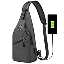 YESO Shoulder Bag Sling Chest Crossbody with USB Charging Port Cycling Running (Dark Gray (USB Charging Port))