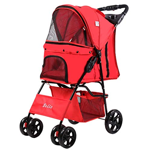 Pet Roadster - Luxury Dog Cart Pet Buggy Fino a 20 kg - Ruote Grandi con 4 rulli in 8 Colori (Color : H)