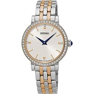 Seiko Sfq810p1 Swarovski Elementos Dos Tonos Vestido De Las Señoras Reloj Steel